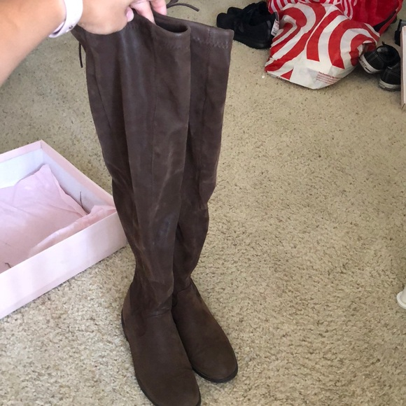 JustFab Shoes - JustFab Over the Knee Suede Brown Boots